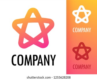 Colorful Star with round corners orange pink color. Vector logo emblem illustration for creative modern business energy company.