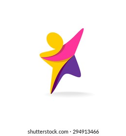 Colorful star shaped man silhouette reaching up logo