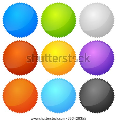 Colorful Starburst Badge Shapes Empty Space Stock Vector (Royalty