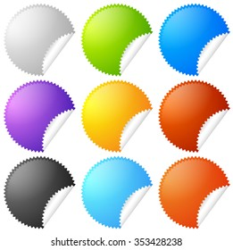 Colorful starburst, badge sticker shapes with blank space.