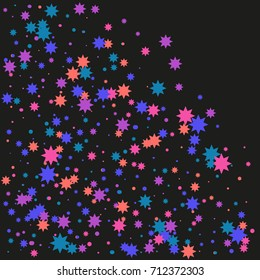 Colorful stars confetti. Vector cosmic abstract frame background. Christmas, new year celebration, birthday party, carnival or festival glamour design.