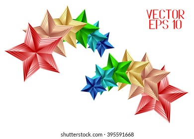 Colorful Stars for Your Design Isolated on White Background. Vector Illustration