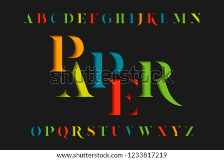 colorful stencil letters set colored vector latin alphabet rainbow serif color font paper