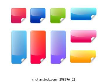 Colorful sticker label icon set vector