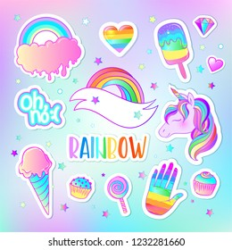 Colorful sticker set: candies, sweets, rainbow, . Vector illustration. Stickers, pins, patches. Halloween pastel colors. Cute gothic style.