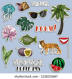 Colorful sticker set. Traveling and voyage concept. Tropical holliday. Vector illustration