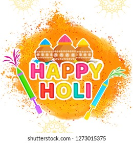 Colorful, sticker style text happy holi with color pots and guns on splash background.