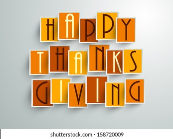 Colorful sticker, tags or labels with Stylize text on grey background for Happy Thanks Giving.