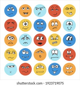 Colorful stickers for kids with doodle, cartoon, hand drawn faces expression. Stock vector illustration for print on textile, decorative paper, wallpaper, gift wrap, greeting card, party decoration