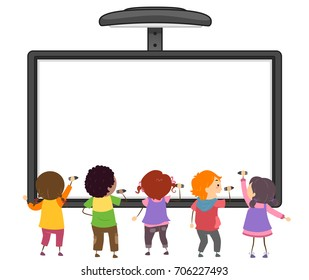 Colorful Stickman Illustration Featuring Preschool Kids Writing on an Interactive Board