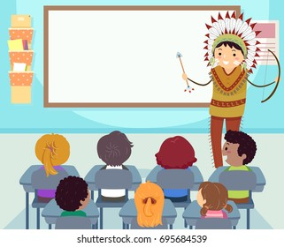 Colorful Stickman Illustration Featuring a Teacher Dressed Like a Native American Teaching Kids Their History