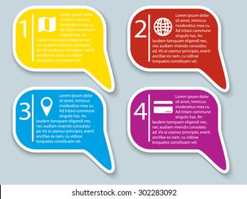 Colorful Sticky Speech Bubbles with shadow. vector illustration
