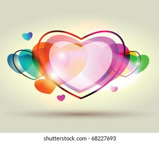 Colorful stock vector hearts.Abstract valentine day card.