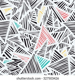 Colorful stone, triangles, lines seamless pattern