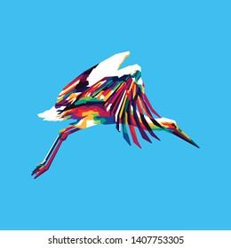 Colorful Stork Bird Illustration, Storks are large, long-legged, long-necked wading birds with long, stout bills.