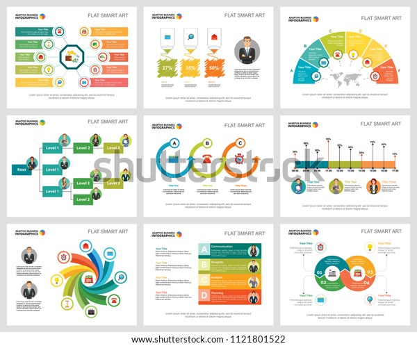 Colorful strategy charts set for presentation slide templates. Business design elements. Management concept can be used for annual report, advertising, flyer layout and banner design.