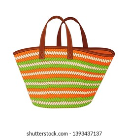 colorful straw bag, shopping tote bag, summer beach bag, vector illustration sketch template on white background