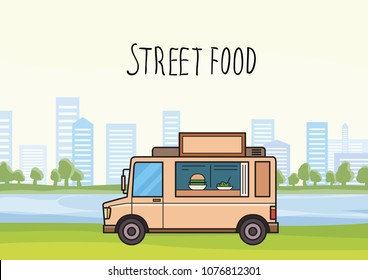 Colorful street-food truck on stylized cityscape background with trees and skyscrapers. Car selling burgers and salads. Vector illustration. Flat style. Lettering. Horizontal.