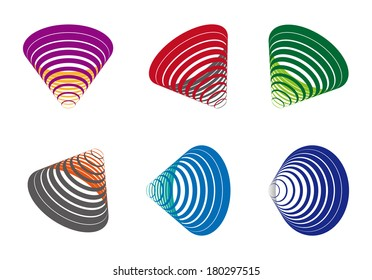Colorful stripe cone logo element. Abstract vector line wave icon template set. You can use in the game, communications, electronics, social media or creative design concepts.