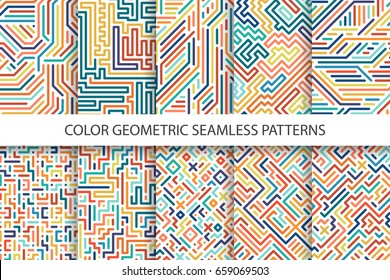 Colorful striped seamless vector patterns - digital multicolor design. You can find seamless backgrounds in swatches panel.