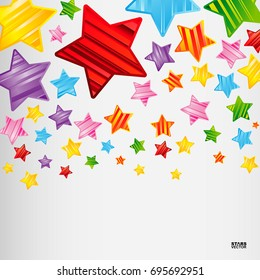 Colorful striped stars background, abstract vector design pattern, bright elements on a white background.