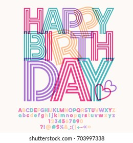 Colorful striped vector alphabet. Graphic font with text for greeting card Happy birthday