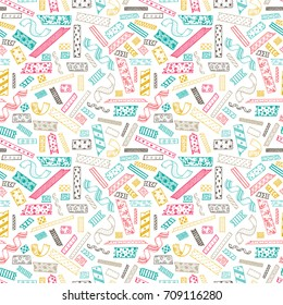 Colorful Strips of decorative Masking Tape Seamless pattern. Hand Drawn Doodle Sticky tape. Adhesive tape. Scrapbook