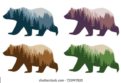 colorful styling bear for your design, isolated objects, vector illustration
