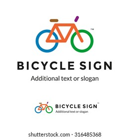 Colorful Stylish Contour Bicycle Logo Sign Icon for Bike Shop or Thematic Company