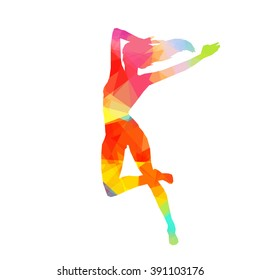 Colorful stylized dancer's pose. Drawing is made by polygons. Vector design elements for your creativity.