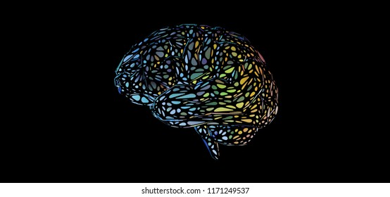 Colorful stylized decoration brain illustration isolated on black color banner background