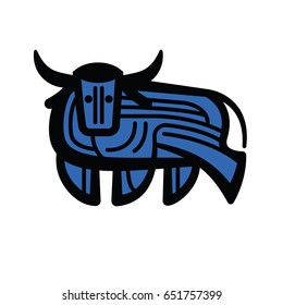 Colorful stylized drawing of stand bull or cow for signs, icons and symbols