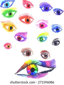Colorful stylized eyes. Hand drawn elements. Vector set.