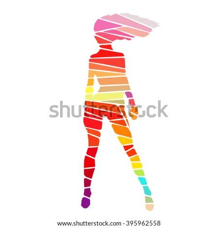 colorful stylized girl pose drawing made stock vector royalty free
