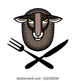 Colorful stylized logo with head of sheep and fork and knife