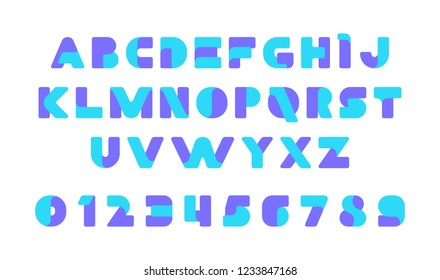 Colorful of stylized modern font and alphabet. Isolated on White background