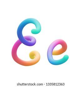 Colorful stylized rainbow alphabet, letter E vector illustration