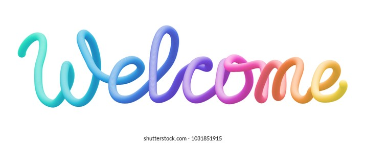 Colorful stylized rainbow lettering inscription 'Welcome' vector illustration