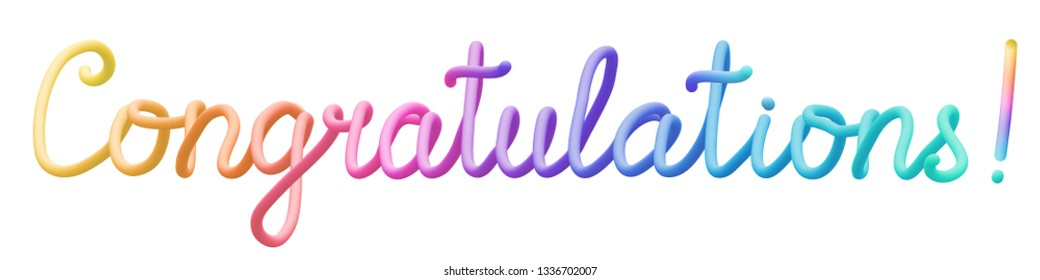 Colorful stylized rainbow lettering inscription 'Congratulations' vector illustration