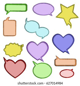 Colorful stylized speech bubbles. Vector illustration.