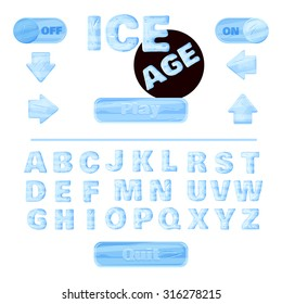 colorful of stylized under the ice alphabets for children's education or use for headings in online games, browser-based and mobile applications. Winter font.