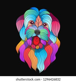 colorful stylized vector maltese breed dog-vector