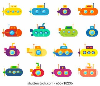 Colorful submarines  icons set, vector illustration.