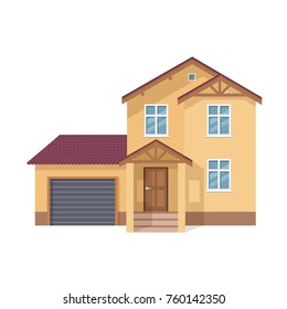 Colorful suburban house, family vacation house, mansion, real estate in rural area. Facade apartment house. Bright multi-storey family house with garage and lot of rooms. Vector illustration
