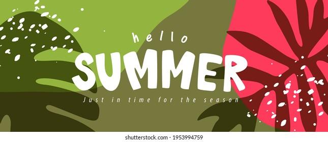 Farbiges Sommer-Hintergrund Layout Banner Design. Horizontales Poster, Grußkarte, Kopfzeile für die Website