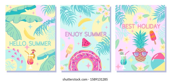 Colorful summer backgrounds with palm leaves, swimming ring, ball, cocktail, ice cream and fruits. Fun template collection poster, flyer, beach party invitation or banner vector flat illustration.