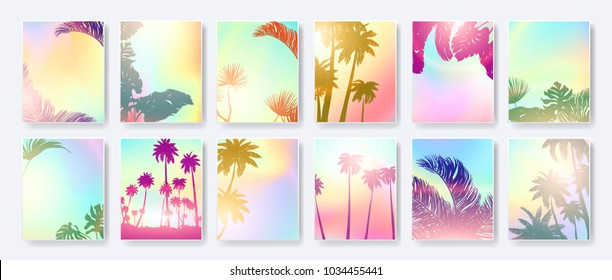 Colorful Summer banners, tropical backgrounds set with palms, leaves, sea, clouds, sky, beach colors. Beautiful Summer Time cards, posters, flyers, party invitations. Summertime template collection.
