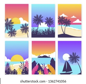 Colorful Summer banners, tropical backgrounds set with palms, sea, clouds, sky, beach. Beautiful Summer Time cards, posters, flyers, party invitations. Summertime template collection.