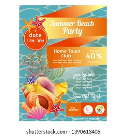 colorful summer beach party poster with sea shell vector illustration