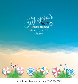 Colorful summer beach vector background, top view